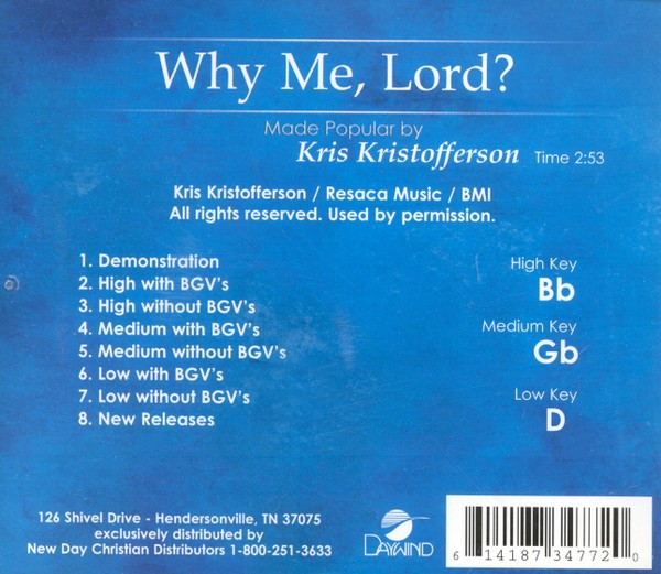 Why Me, Lord? (3 Key) Accompaniment CD