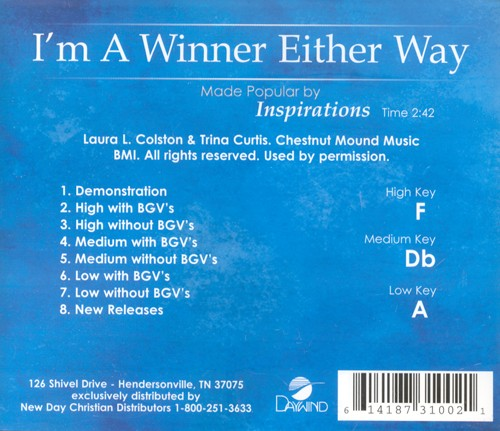 I'm A Winner Either Way, Accompaniment CD
