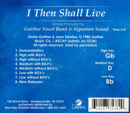 I Then Shall Live, Accompaniment CD