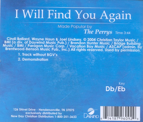 I Will Find You Again, Accompaniment CD