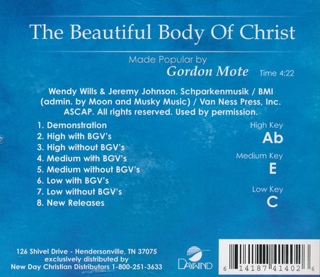 The Beautiful Body Of Christ, Acc CD