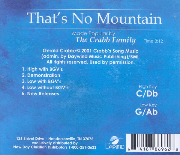 That's No Mountain, Accompaniment CD