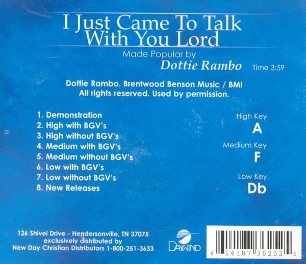 I Just Came To Talk With You Lord, Accompaniment CD