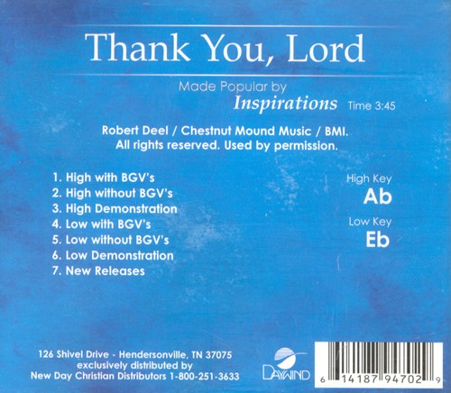Thank You Lord, Accompaniment CD