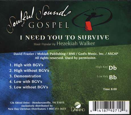 I Need You To Survive, Accompaniment CD
