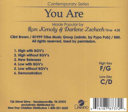 You Are, Accompaniment CD