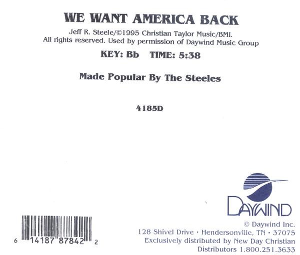 We Want America Back, Accompaniment CD