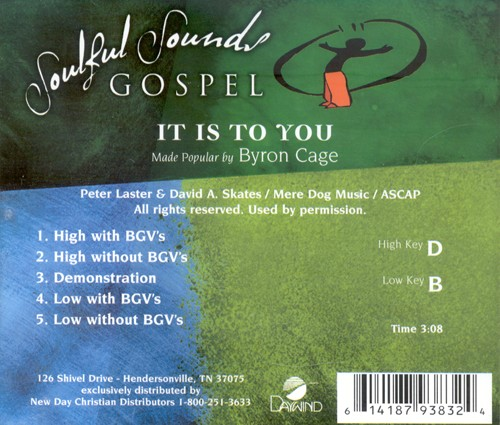 It Is To You, Accompaniment CD