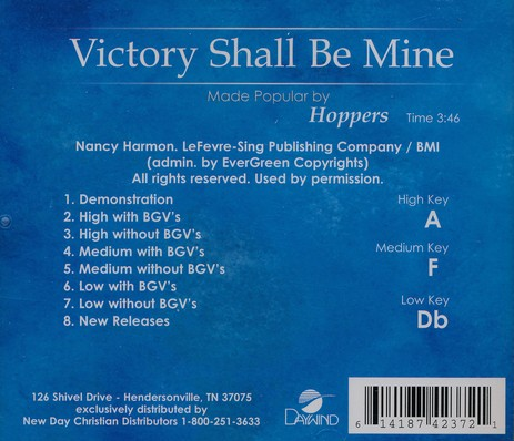 Victory Shall Be Mine, Accompaniment CD