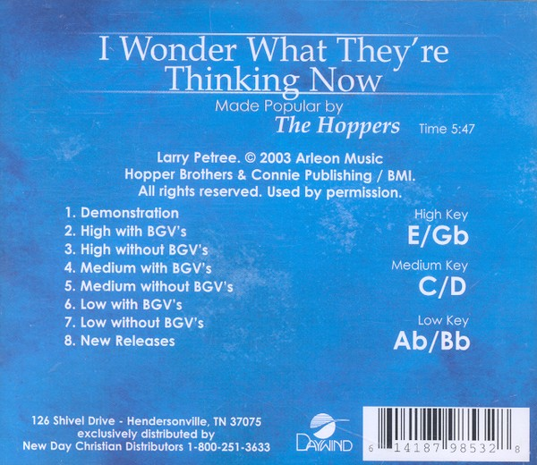 I Wonder What They're Thinking Now, Accompaniment CD