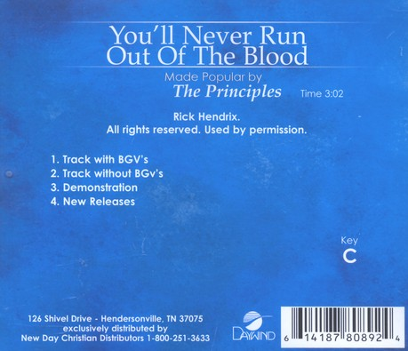 You'll Never Run Out Of The Blood, Accompaniment CD