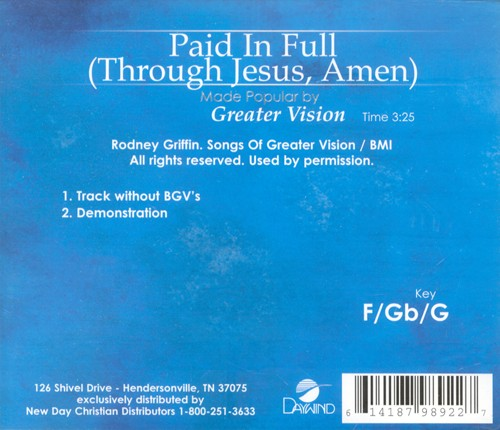 Paid In Full (Through Jesus, Amen), Accompaniment CD
