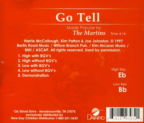 Go Tell, Accompaniment CD