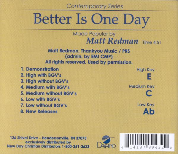 Better Is One Day, Accompaniment CD