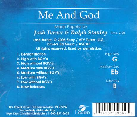Me And God, Accompaniment CD