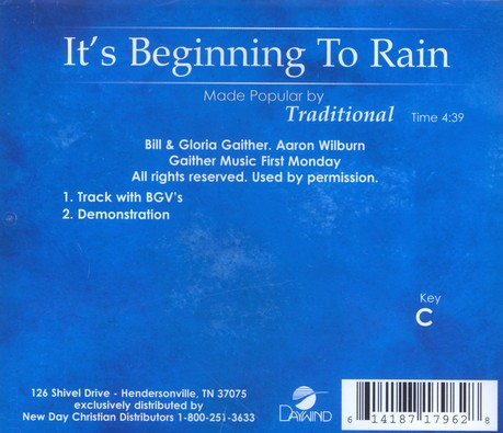 It's Beginning To Rain, Accompaniment CD