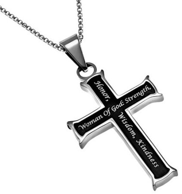 Woman of God, Black Iron Cross Necklace   -