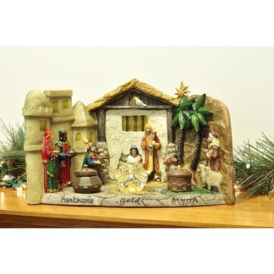 The Panoramic Nativity with Gold, Frankincense & Myrrh  -