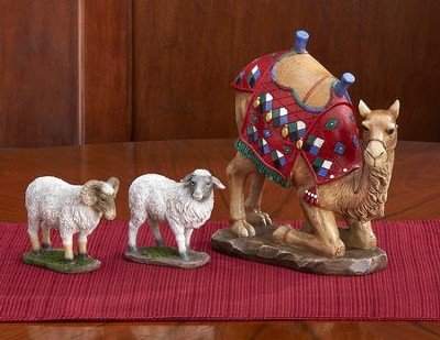 Real-Life Nativity 7-inch Size Animal Set of 3, camel and sheep   -