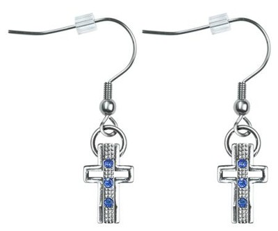 Trinity Cross Earrings, Sapphire Blue Crystals  -     By: Coleen Rossi