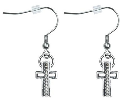Trinity Cross Earrings, Rope Center, Silver  -     By: Coleen Rossi
