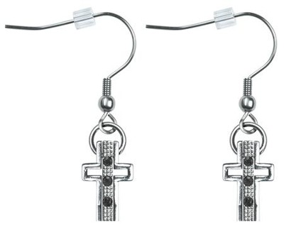 Trinity Cross Earrings, Jet Black Crystals  -     By: Coleen Rossi