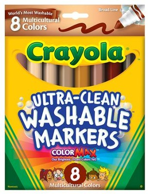Crayola, Broad Line Washable Markers, Multicultural, 8 Pieces  -