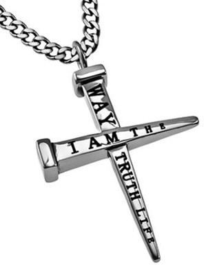 Way, Truth, Life Nail Cross Necklace  -