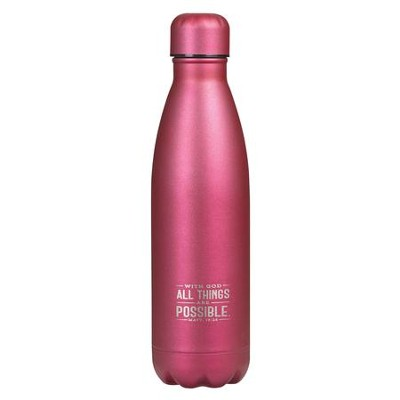 With God, All Things Are Possible, Stainless Steel Water Bottle, Pink  -