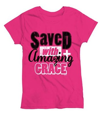 Saved With Amazing Grace, Ladies Shirt, Pink, XX-Large  -