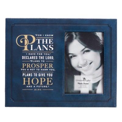 For I Know the Plans Photo Frame, Lux Leather, Navy Blue  -
