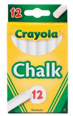 Crayola, White Chalk, 12 Pieces  -