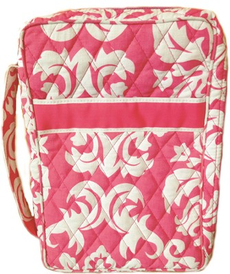 Quilted Bible Cover, Pink and White, X-Large  -