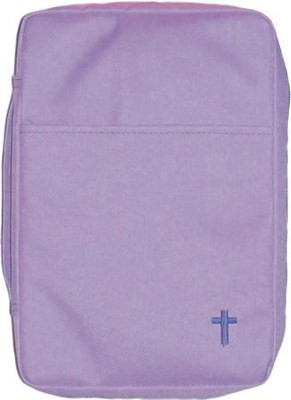 Embroidered Canvas Bible Cover, Purple, Large  -