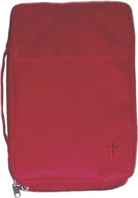 Embroidered Canvas Bible Cover, Red, Medium  -