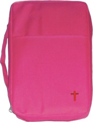 Embroidered Canvas Bible Cover, Pink, Medium  -