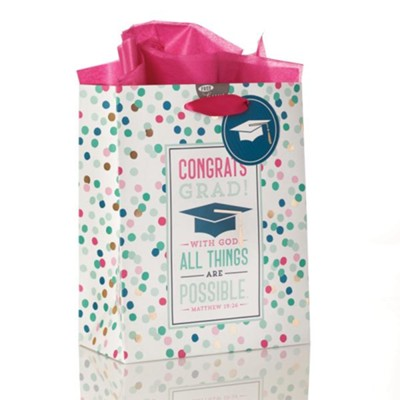 Congrats Grad, With God All Things Are Possible, Gift Bag, Medium  -