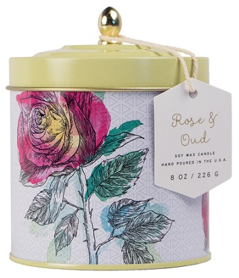 Dome Lid Tin Candle, Rose / Oud   -