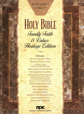 KJV Family, Faith & Values, Heritage Edition, Giant   Print, Bonded Leather, White  -