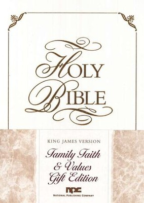 KJV Family Faith & Values Bible, Gift edition, Imitation Leather, White  -
