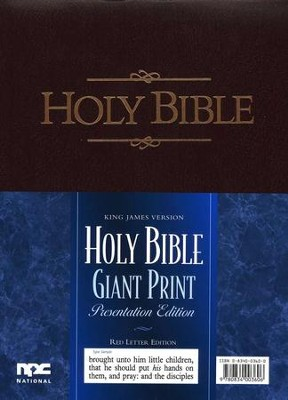 KJV Giant-Print Presentation Bible--imitation leather, burgundy  -