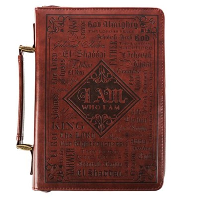 Names of God Bible Cover, Brown Lux Leather, Medium  -