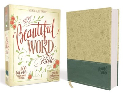 NKJV Beautiful Word Bible--soft leather-look, taupe/peacock blue  -