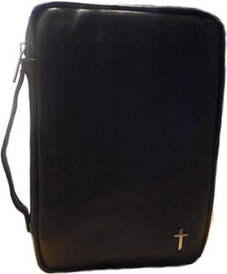 Genuine Leather Bible Cover, Black, X-Large  -
