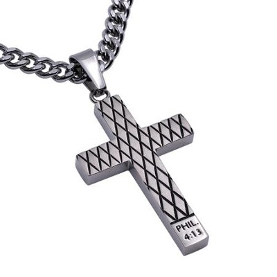 Christ My Strength Diamond Back Cross Necklace, Silver  -