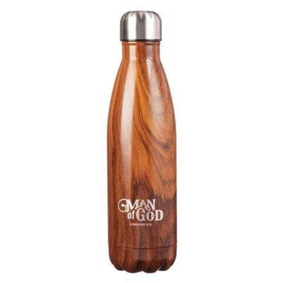 Man of God, Stainless Steel Water Bottle, Wood Design  -