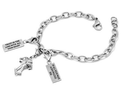 Trust, Cubic Zirconium Cross Chunky Bracelet, Adjustable   -