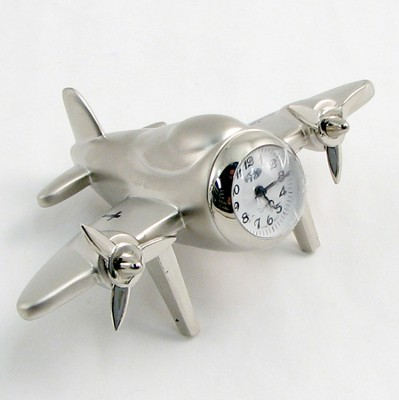 Silver 4 Prop Airplane Clock Psalm 57:10 Cross  -