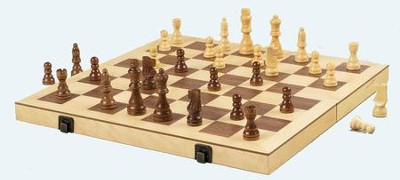 Wood Folding Chess Set, 16 inch  -
