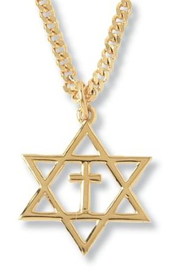 Gold-Plated Star of David Cross Pendant   -